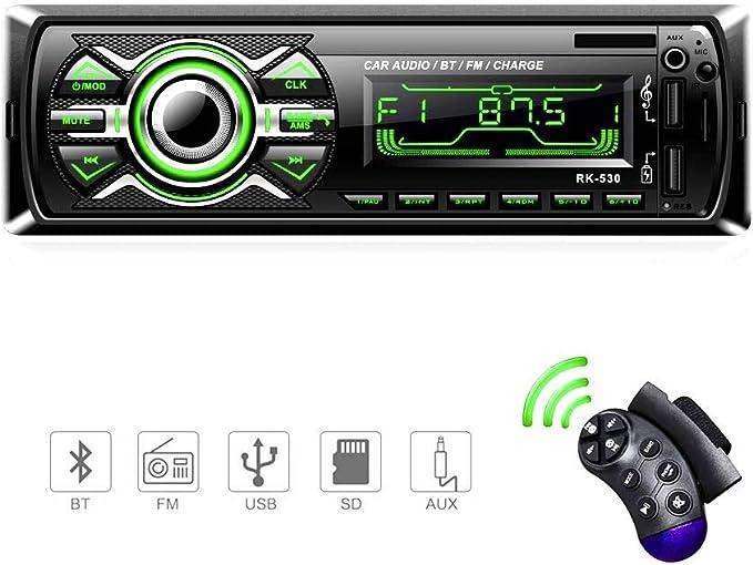 Radio Coche, LSLYA Radio Coche Bluetooth, admite Llamadas Manos Libres, Radio USB Coche Soporte Radio FM, Radio para Coche con Doble USB, Carga rapida, Control Remoto del Volante: Amazon.es: Electrónica