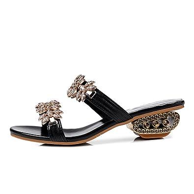 weiwei Damen Sommersandalen und PantoffelnStrass Low Heel Grobe Ferse Fashion Slipper