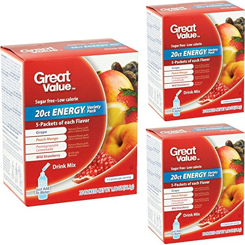 Great Value Pack (Great Value Energy Variety Pack Drink Mix, 20 count, 1.98 oz ( 3 Boxes - 60 Packets Total ))