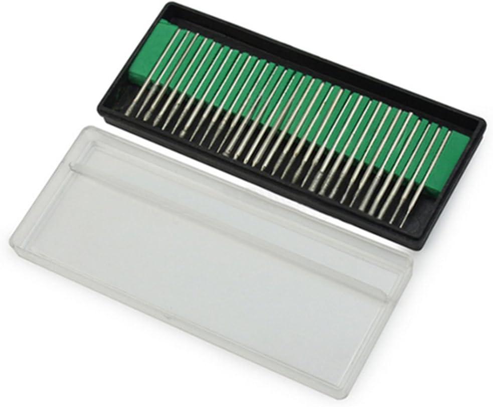 30Pcs Diamond Burr Bits Drill  Engraving Carving Dremel Rotary Replace Tools Kit