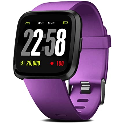 FITVII Smart Watch, Fitness Tracker with IP68 Waterproof Swimming Touch Screen Watches, Heart Rate Monitor with GPS Running Pedometer Step Counter ...