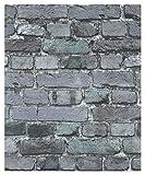 HaokHome 7705 Brick Wallpaper Rolls Dark Gray/Black/Blue Distressed Murals Home Kitchen Bathroom Decoration 20.8'' x 32.8ft
