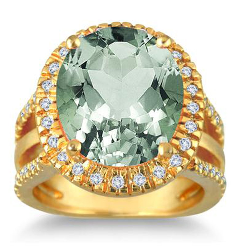 Silvernshine Jewels 7 1/2 Carate oval Green Amethys & Simulated Diamond Ring In 14K Yellow Gold Plated