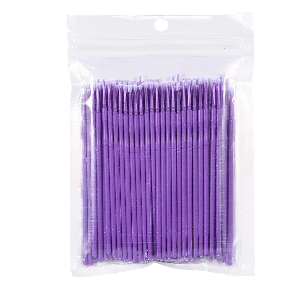 4 colori 100 pz/borsa donne monouso pennelli micro, ciglia estensione mascara pennello colla per ciglia bastone di pulizia per rimozione ciglia estensione(blu) GLOGLOW
