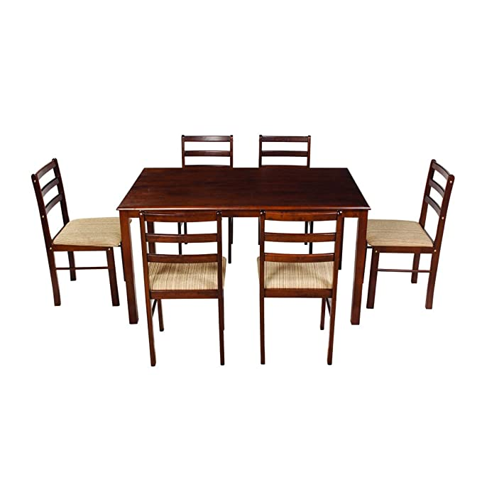 Woodness Winston Solid Wood Upholstered 6 Seater Dining Table Set  Wenge  Dining Room Sets