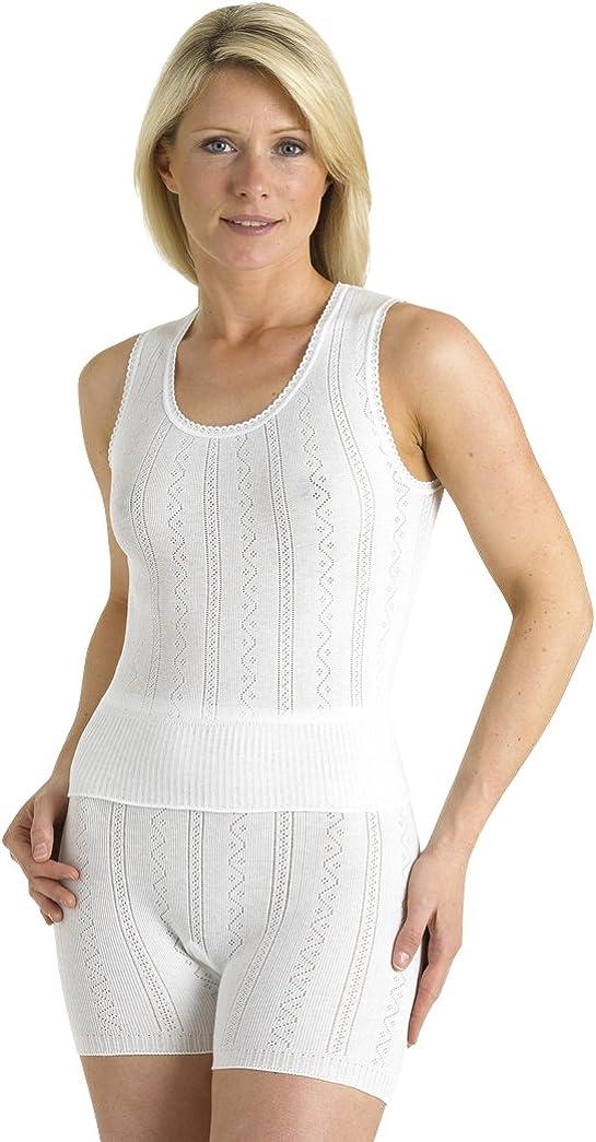 White UK 12-22 Brettles Ladies 100/% Cotton No Sleeve Sleeveless Cami Set with Pantee