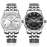 BUREI Mens Classic Automatic Watches with Black Dial Stainless Steel Case Stainless Steel Bracelet