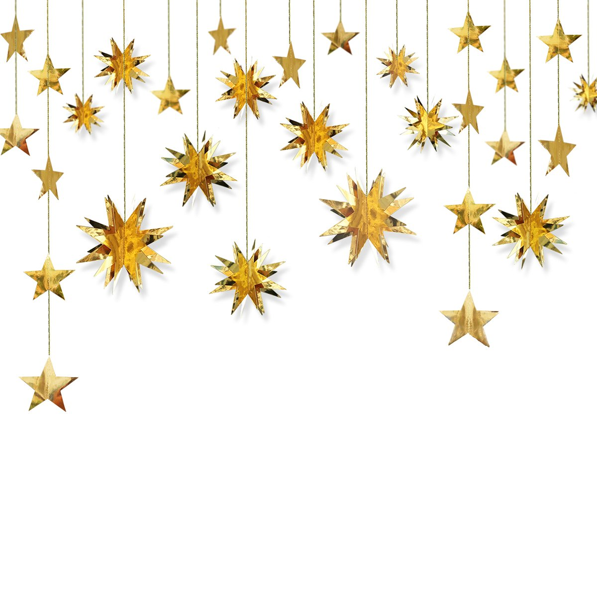 PinkBlume Gold Decorations Kit,Star Paper Garland,3D Stars Party Decor,Metallic Bunting Banner-Holiday Supplies,Birthday,Wedding,Baby Shower,Hanging Decorations for Nursery,Kids,Girls Room (4 Set).… Girls Room (4 Set).…