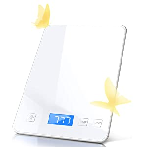Raymeefa Upgrade Food Scale, Easy to use on Cooking Baking, Making Drinks, 22lb Range, 1g/0.1oz Accuracy, Tempered Glass, Weight Grams and Ounces Digital Kitchen Scale and Coffee Scale