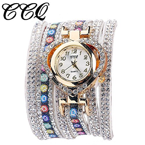 Valentine Day Gift Hosamtel Women Colorful Rhinestone Bracelet Heart Shape Quartz Dial Wrist Watch (White) ()