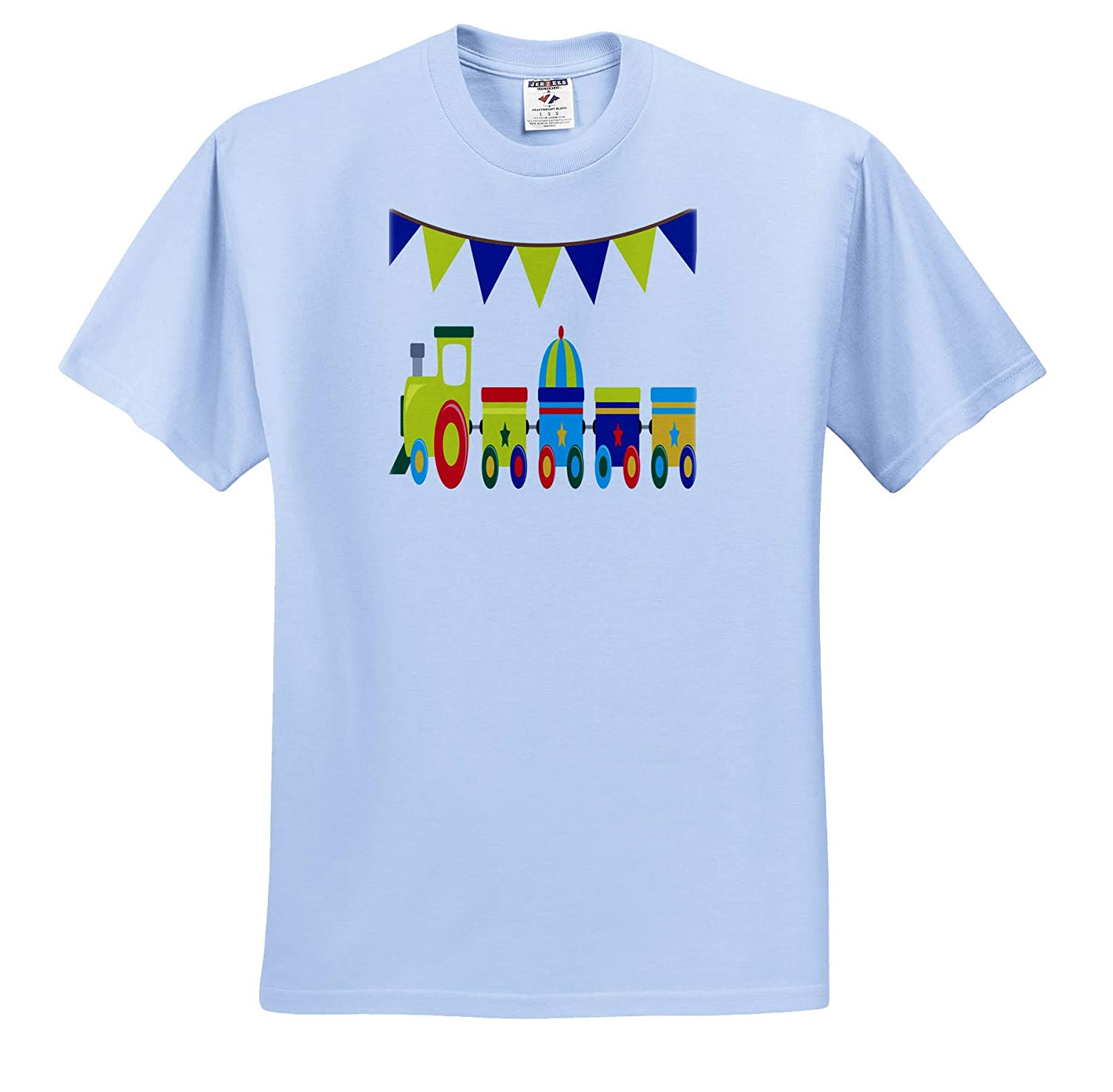 3dRose Anne Marie Baugh Adult T-Shirt XL Designs ts/_308794 Cute and Colorful Train Illustration