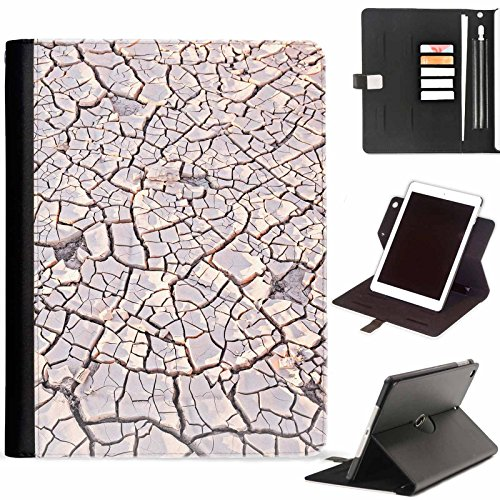 Cracked Desert Floor - Hairyworm - Cracked desert floor Apple iPad Mini 4 leather side flip wallet 360 swivel case, folio cover with Apple pencil / pen holder, card slots, paper slot, metal buckle, stand points