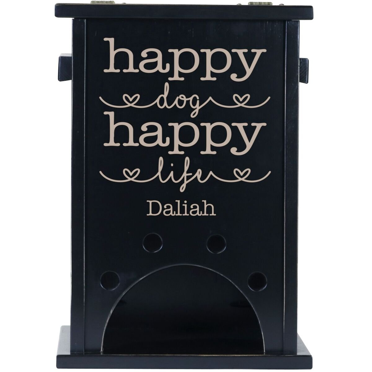 Personalized Custom Engraved Pine Pet Toy Box Storage Organizer, Birthday gift for Dogs, Daughter, Sons, Boys and Girls, Grandchildren, Made in USA By Rooms Organized (Black)