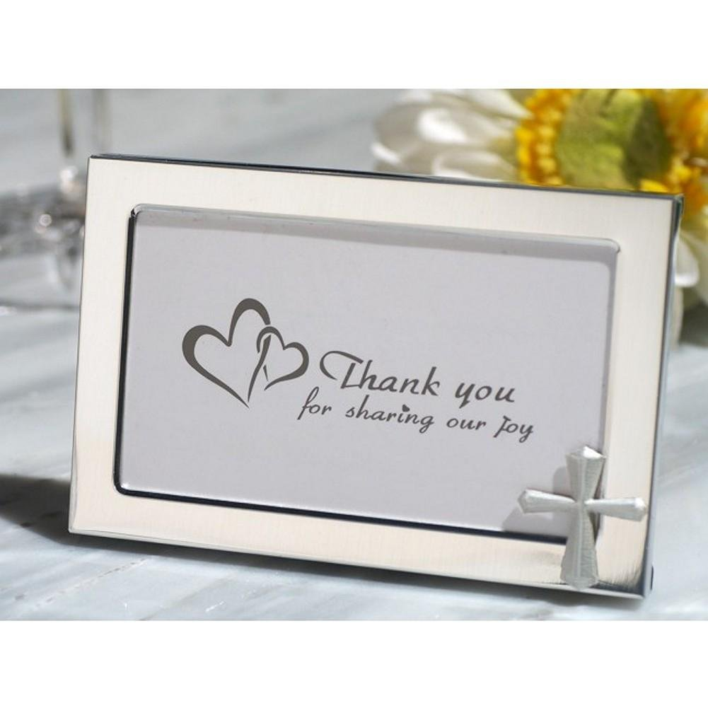 Cross Accented Metal Photo Frame Favor - 12 Pieces