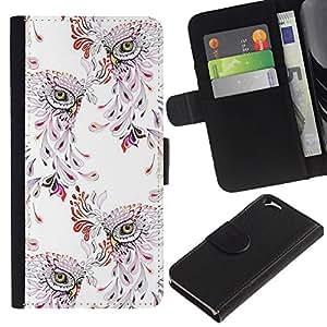 KingStore / Leather Etui en cuir / Apple Iphone 6 / Patrón del pájaro del vintage del papel pintado floral