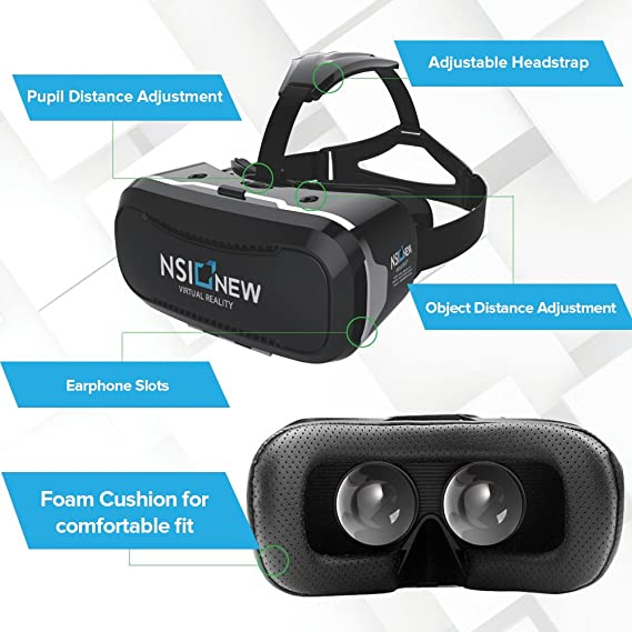 907d9d158861 Amazon.com  Virtual Reality Headset by NSInew - Wider FOV VR Headset or 3D  VR Glasses for Games - Ventilation Holes Independently Adjustable HD Lenses  ...