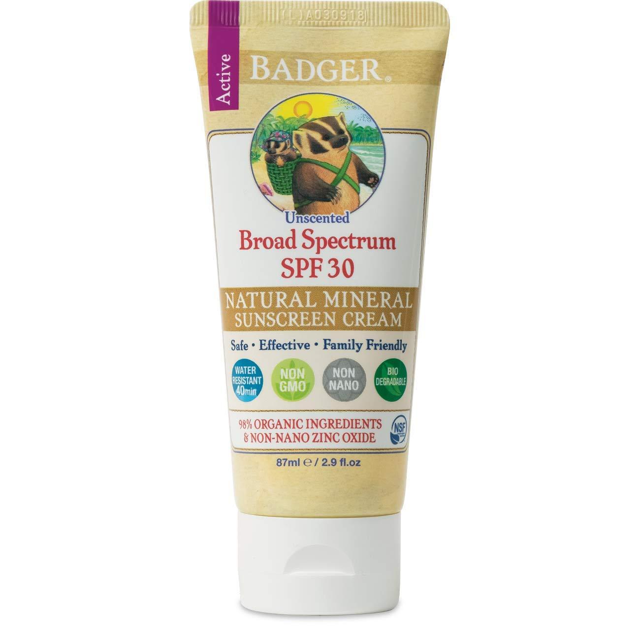 Badger - SPF 30 Zinc Oxide Sunscreen Cream - Unscented - Broad Spectrum Water Resistant Reef Safe Sunscreen, Natural…