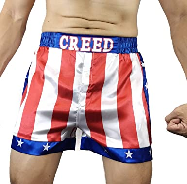 Rocky Balboa Mens Apollo Movie Boxing American Flag Shorts Trunks boxers
