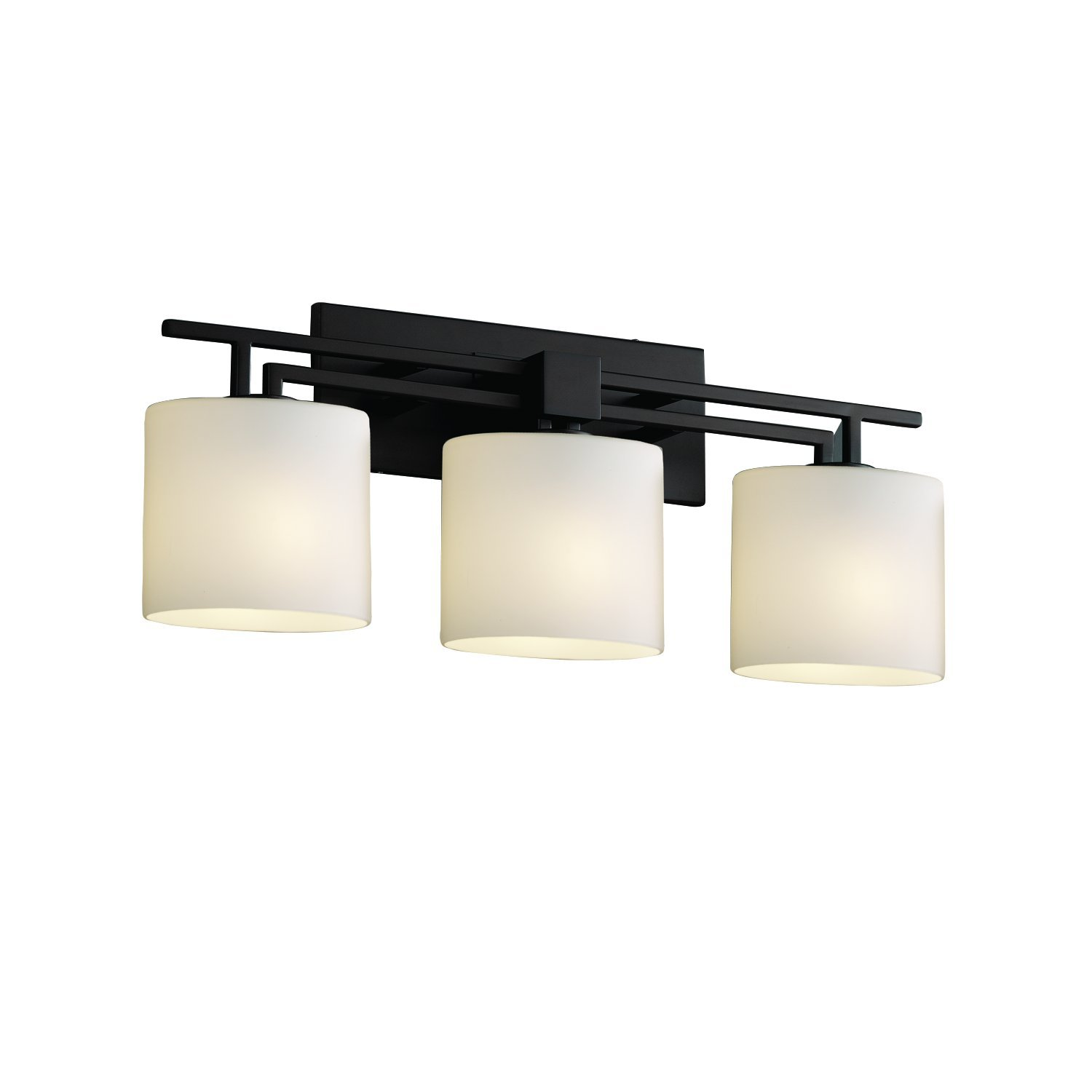 Justice Design Group Fusion 3-Light Bath Bar – Matte Black Finish with Opal Artisan Glass Shade