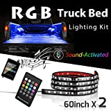 "2PC 60"" SMART RGB LED Truck Bed Lights w/ Sound-activated Function, Wireless RF Remote, On/off Switch for Pickup, SUV, RV and More"