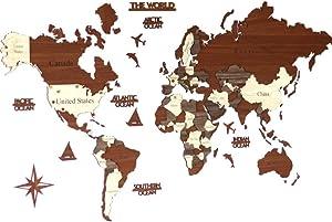 3D Wooden World Map, Wood Wall Map, Housewarming Gift, World Map, Wall Art Decor, Wooden Travel Map, Birthday Gift (M Standard - 39x24 inches)