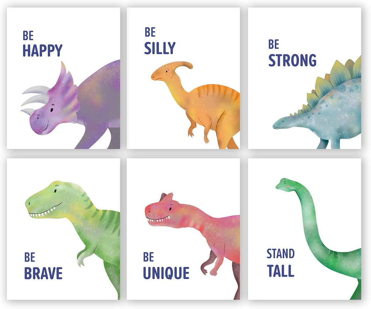 Watercolor Dinosaur Wall Art Print-- Playroom or Nursery Decor-- Inspirational Quote Animal Canvas Print ( Set of 6 )--Unframed--8X10 inch