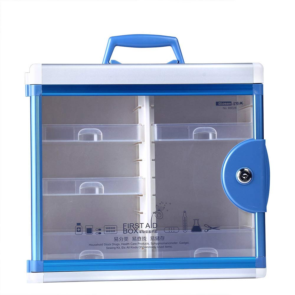 Glosen First Aid Box Lockable Medicine Box with Wall Mounted Function 13.6x6.5x12.4 Inch Blue by Glosen (Image #9)