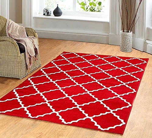 Contemporary Trellis modern Geometric Area Rug RED 635 furnishmyplace- 4x6 (Trellis Red Area Rugs)