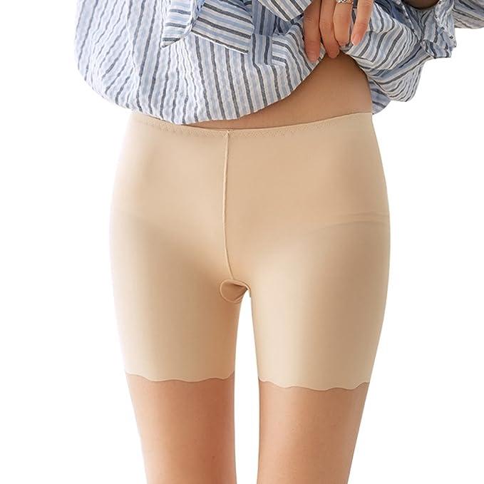 Yiiquan Mujeres Leggings Cortos Bragas Pantalone Culote Volantes Encaje Shorts Transpirable Bòxer (Beige, One