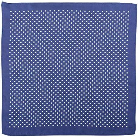 Lantier Designs Mens 100/% Silk Polka Dot Pocket Square Blue//White 12