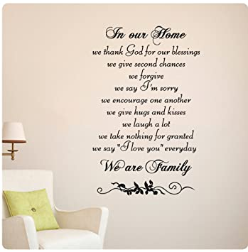 In Our Home We Are Family Wall Decal Sticker Art Mural Home Décor Quote