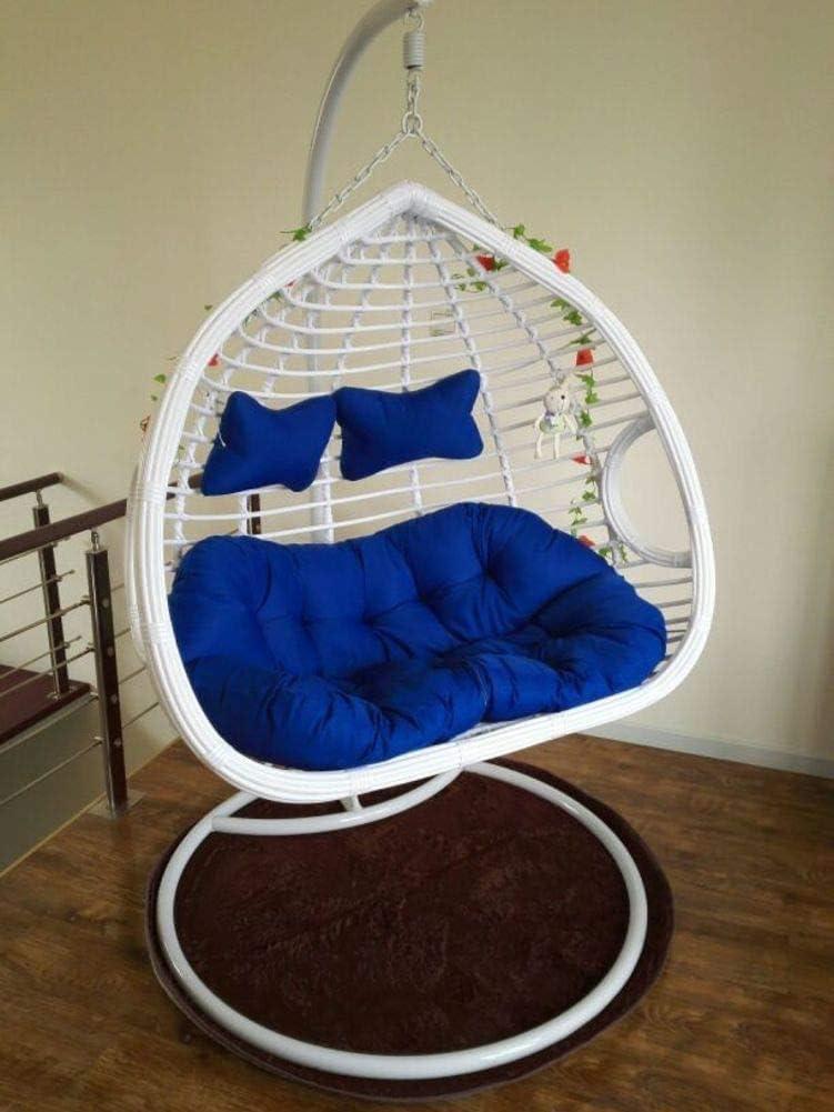 No silla, asiento grueso para 2 personas, cojín de silla giratoria, no de pie, canasta de nido de huevo, hamaca de huevo colgante, cojín de asiento extraíble, lavable, Al 140x110 cm (55x43 pulgadas)