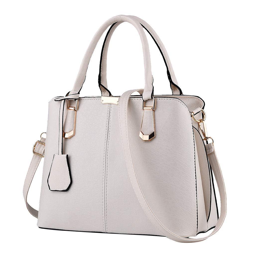 Shoulder Bags,AgrinTol Women Large Capacity Simple Fashion Top Handle Satchel Tote Purse (Beige) by Agrintol_Fashion Bags