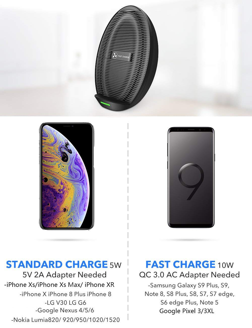 Seneo iPhone XS MAX Wireless Charger, Qi Certified Wireless Charging Stand  Compatible with iPhone XS MAX/XR/XS/X/8/8 Plus, 10W for Galaxy Note 9/S9/S9