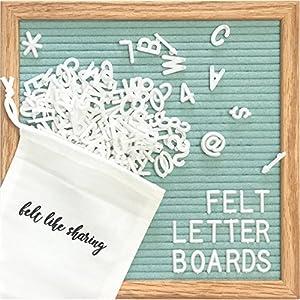 Light Seafoam Green Felt Letter Board 10x10 inches. Changeable Letter Boards Include 300 White Plastic Letters & Oak Frame.