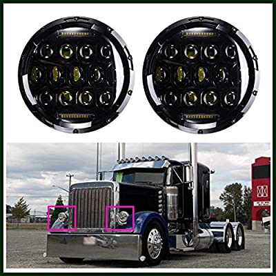 7 Inch LED Round Headlight High Low Double Beam DRL 6000K Cool White for Peterbilt 379 359 - 2 Pcs