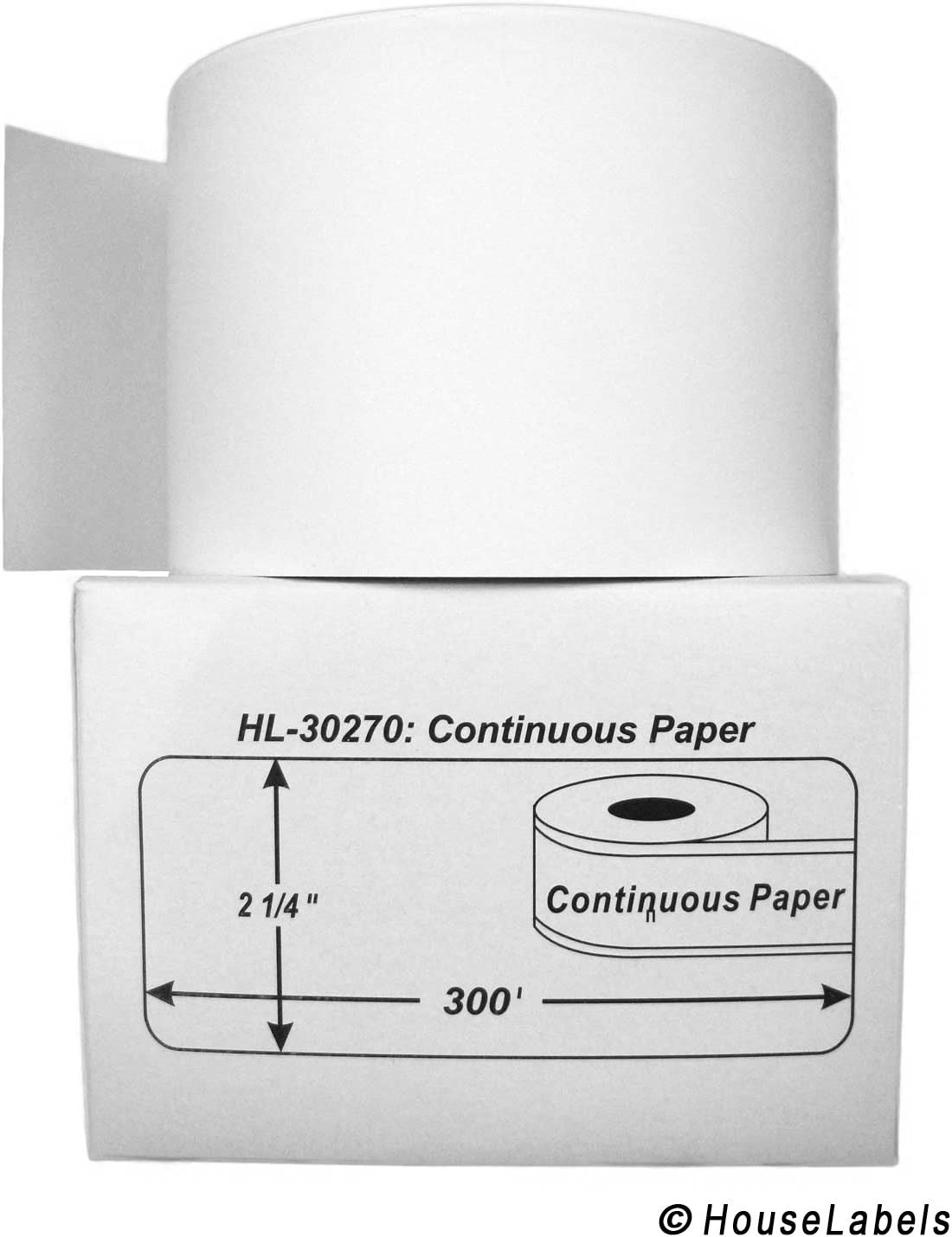 """SHIPS FAST 2 Rolls; Continuous Paper, DYMO-Compatible 30270 Continuous Receipt Paper (2-7/16"""" x 300') - BPA Free!"""