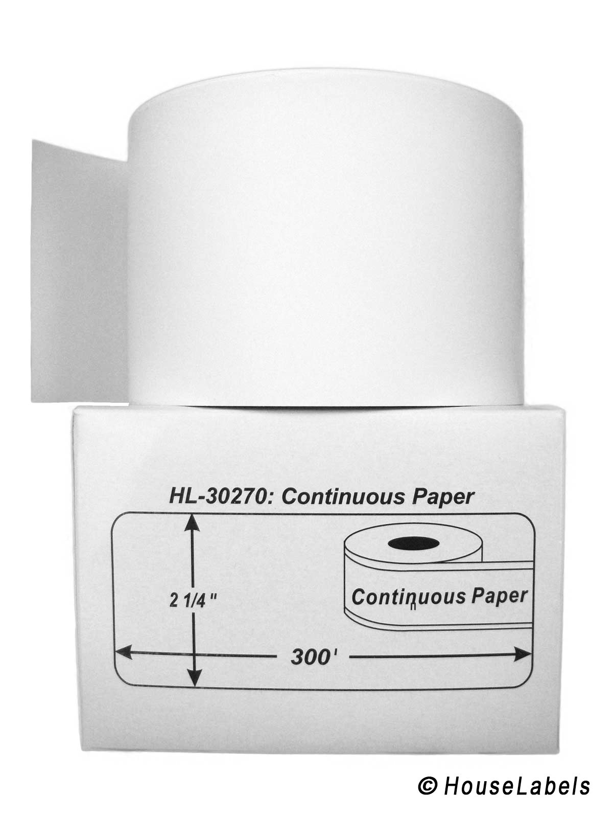 25 Rolls; Continuous Paper, DYMO-Compatible 30270 Continuous Receipt Paper (2-7/16'' x 300') -- BPA Free!