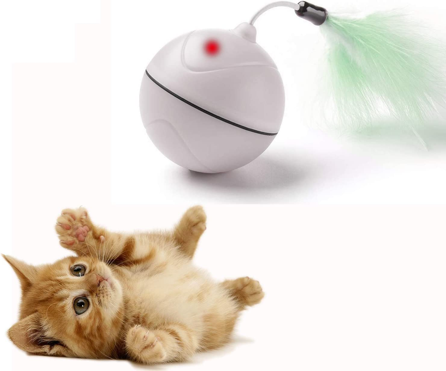 Bola de Carga USB automática para Juguetes para Gatos con luz interactiva interactiva y entretenida para Juguetes con Pluma Desmontable para Gatitos - batería Recargable: Amazon.es: Productos para mascotas