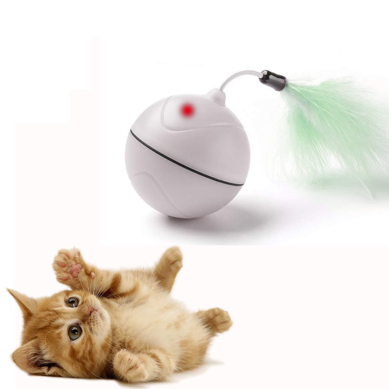 FIRIK Jouet pour Chat Electronique Automatique Interactif avec Plume à Chat et Point de Lumière Rouge - Rechargeable par USB