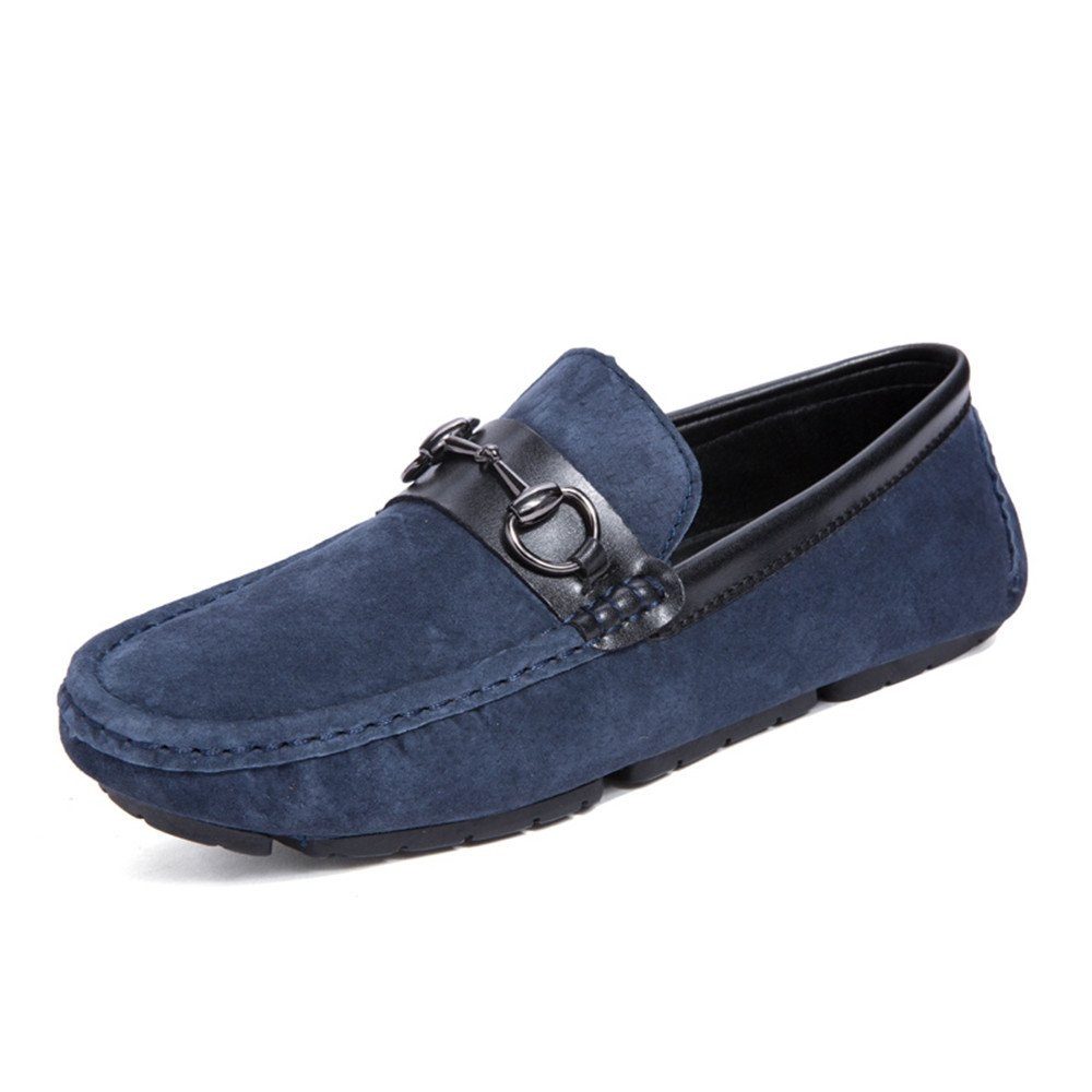 HYF Oxford Shoes Men's Driving Loafers Casual Leather Breathable Anti-Slip Soft Bottom Boat Moccasins Dress Shoes Business Shoes for Men (Color : RoyalBlue, Size : 8 M US)