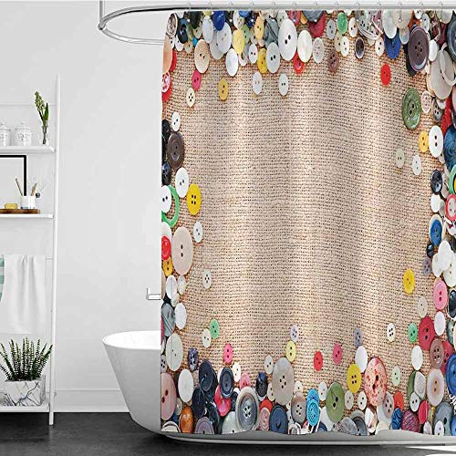 Tim1Beve Custom Shower Curtain,Vintage Buttons Collection Fabric Texture Canvas Frame Sewing Needlecraft Contemporary Picture,Fashionable Pattern,W72x96L Light - Contemporary Bed Sonoma