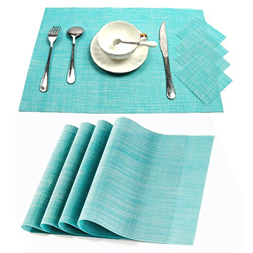 PAUWER PVC Placemats with 6 Coasters, Washable Placemats Woven Vinyl Place Mats for Dining Table, Set of 6 - Blue - Placemats For Dining Table Blue