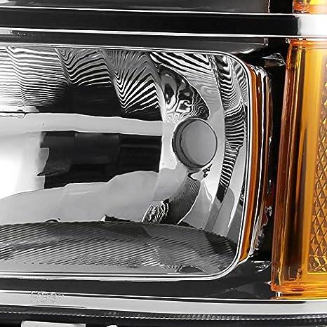 Spec-D Tuning 2LH-SIE07JM-RS GMC Sierra 1500//2500//3500HD Denali Black Headlights+Amber Reflector