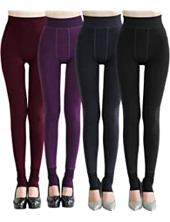 b3c69a3cda992 CHRLEISURE Women s Winter Warm Fleece Lined Leggings - Thick Velvet Tights  Thermal Pants