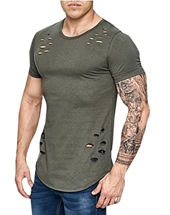 66417854734f Major Wong Men s Fashion Ripped Solid Color Loose Fit Crew Neck T Shirts  Casual Short Sleeves