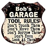 BOB'S GARAGE TOOL RULES Rustic Chic Sign Vintage Retro 11.5'x 11.5' Shield Metal Plate Store Home man cave Decor Funny Gift
