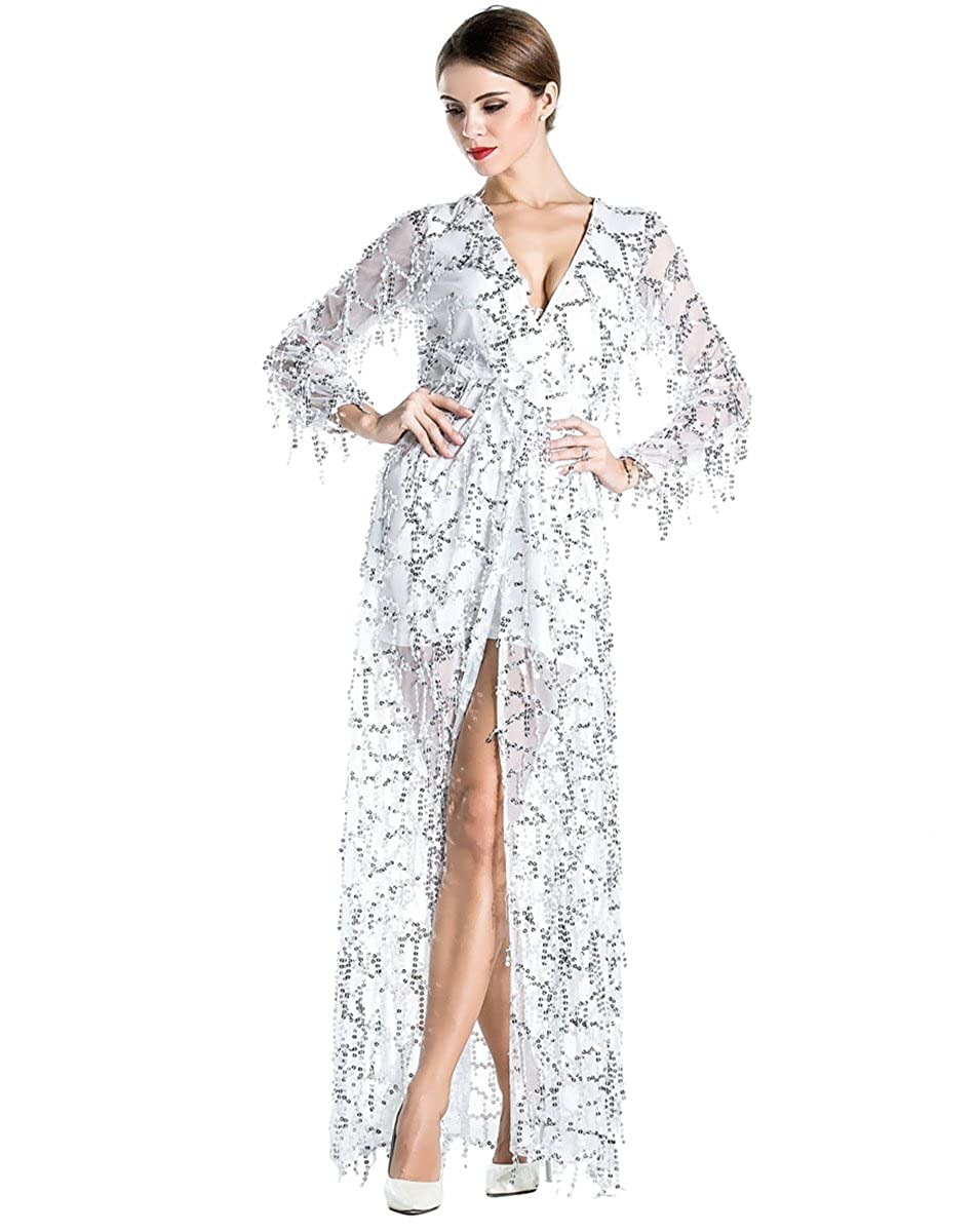b295fac54d5 Long White Maxi Dress With Split - Data Dynamic AG
