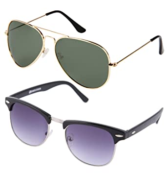 3afb95ee4006 Gansta Aviator Clubmaster Wayfarer Sunglasses combo for Men - Women  (GN3002-Gld-G15-GN11075-Blk-Sil-GD- Black lenses): Amazon.in: Clothing &  Accessories