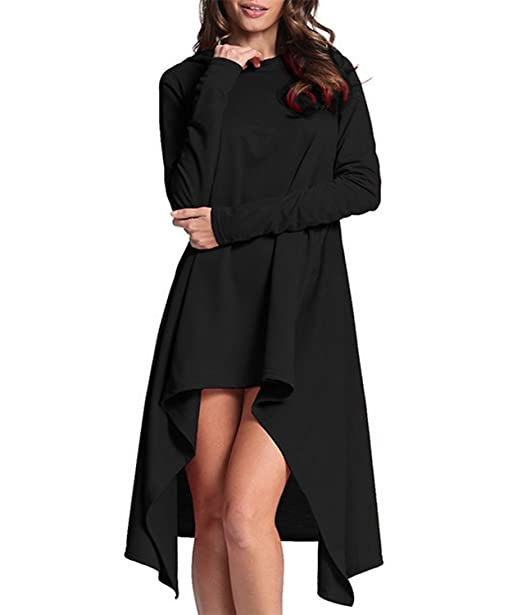 1212ce084f ThusFar Women s Loose Long Sleeve Irregular Hem Sweatshirts Solid Color  Pullover Hoodie Dress Black S